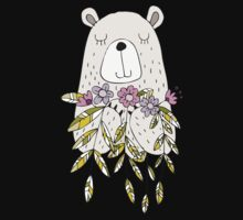 Cartoon Animals Cute Bear With Flowers Kids Tee