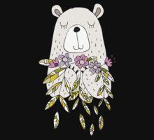 Cartoon Animals Cute Bear With Flowers One Piece - Short Sleeve