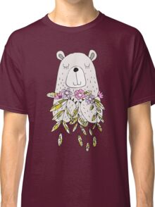 Cartoon Animals Cute Bear With Flowers Classic T-Shirt