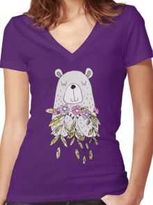 Cartoon Animals Cute Bear With Flowers Women's Fitted V-Neck T-Shirt