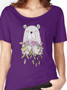 Cartoon Animals Cute Bear With Flowers Women's Relaxed Fit T-Shirt