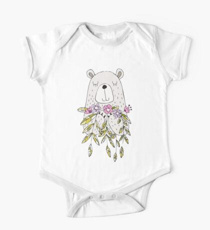 Cartoon Animals Cute Bear With Flowers One Piece - Short Sleeve