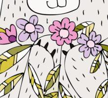 Cartoon Animals Cute Bear With Flowers Sticker