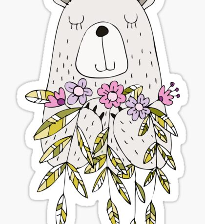 Cartoon Animals Cute Bear With Flowers Sticker