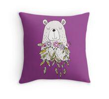 Cartoon Animals Cute Bear With Flowers Throw Pillow