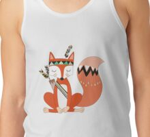 Cartoon Tribal Fox With Arrows and Feathers Tank Top