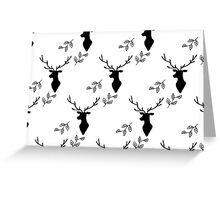 Deer and Leaves Black on White Greeting Card