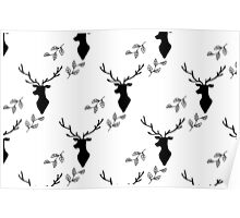 Deer and Leaves Black on White Poster