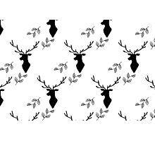 Deer and Leaves Black on White Photographic Print