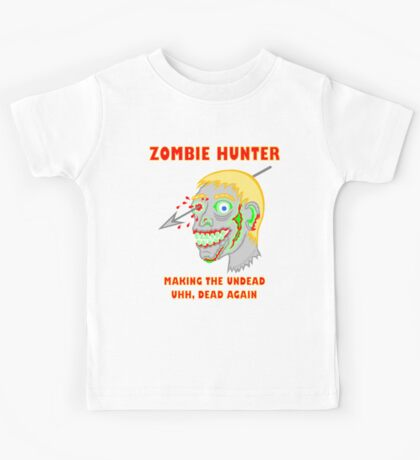 Zombie Hunter Funny Cartoon Walker Zombie Head Kids Tee