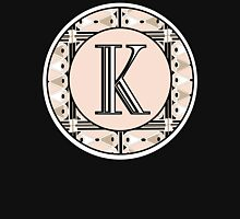 1920s Pink Champagne Gatsby Monogram letter K Womens Fitted T-Shirt