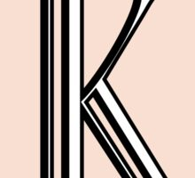 1920s Pink Champagne Gatsby Monogram letter K Sticker