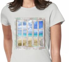 Caribbean Cottage tropical beach house window, coastal art Womens Fitted T-Shirt