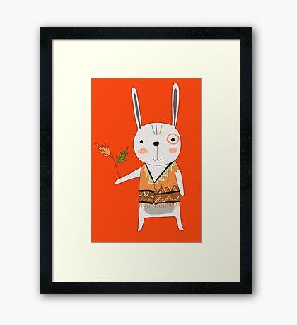 Cartoon Animals Tribal Bunny Rabbit Framed Print