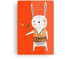 Cartoon Animals Tribal Bunny Rabbit Metal Print