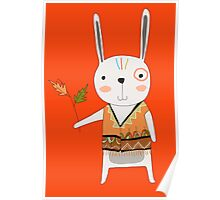 Cartoon Animals Tribal Bunny Rabbit Poster