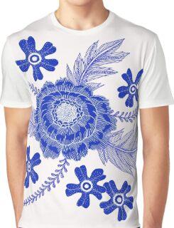 Blue Peony Graphic T-Shirt
