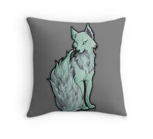 Mint Flame-Tail Wolf Throw Pillow