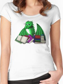 Green Dragon with Book Hoard Women's Fitted Scoop T-Shirt