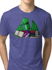 Green Dragon with Book Hoard Tri-blend T-Shirt