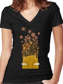 Psychedelic flower power Women's Fitted V-Neck T-Shirt