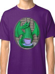 Book Hoarding Green Dragon with Tea Classic T-Shirt
