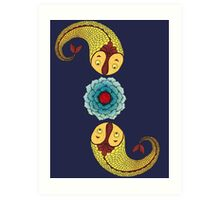 Curious Fish with Water Lily Art Print