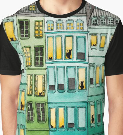 Cats in Green Townhouses Graphic T-Shirt