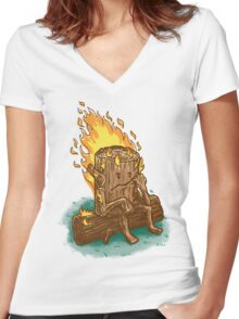 Bad Day Log Women's Fitted V-Neck T-Shirt