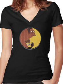 Carl and Lenny Women's Fitted V-Neck T-Shirt
