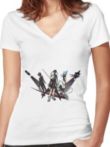 Maka, Death the Kid, Black Star Women's Fitted V-Neck T-Shirt