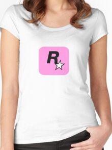 Rockstar Logo Pink Women's Fitted Scoop T-Shirt