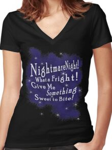 Nightmare Night Women's Fitted V-Neck T-Shirt
