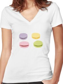 Sweet Macaron Women's Fitted V-Neck T-Shirt