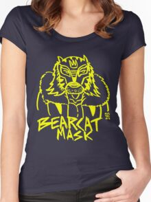 BOOTLEG WRASSLER BEARCAT MASK - YELLOW Women's Fitted Scoop T-Shirt