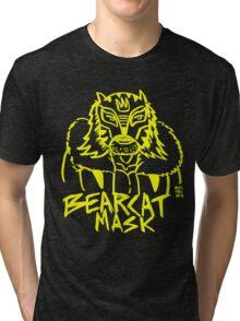 BOOTLEG WRASSLER BEARCAT MASK - YELLOW Tri-blend T-Shirt