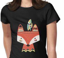 Cartoon Tribal Red Fox Womens Fitted T-Shirt