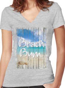Beach House Coastal art Women's Fitted V-Neck T-Shirt