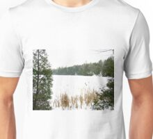 Haze morning around the lake  Unisex T-Shirt