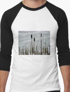 Haze morning around the frozen lake  Men's Baseball ¾ T-Shirt