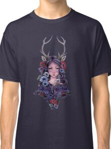 Dark Faun Girl with Flowers Classic T-Shirt