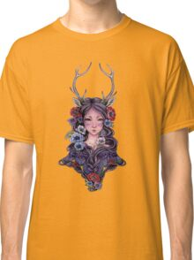 Dark Faun Girl with Flowers Classic T-Shirt