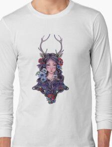 Dark Faun Girl with Flowers Long Sleeve T-Shirt