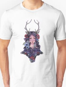 Dark Faun Girl with Flowers Unisex T-Shirt
