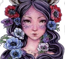 Dark Faun Girl with Flowers Sticker