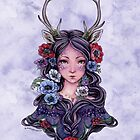 Dark Faun Girl with Flowers by meredithdillman