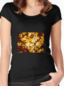 Autumn colours, simple flowers Women's Fitted Scoop T-Shirt