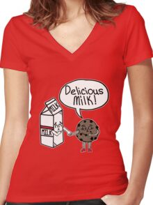 Delicious Milk Women's Fitted V-Neck T-Shirt