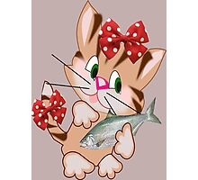 Kitty with Fish T shirt  , Tote bag and pillow (4294 Views) Photographic Print