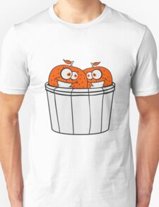 2 oranges comic cartoon face grin funny team buddies party harvest bucket pick bauer Unisex T-Shirt